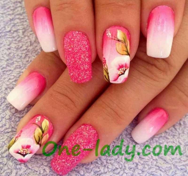 Рисунки на ногтях яркие розовые