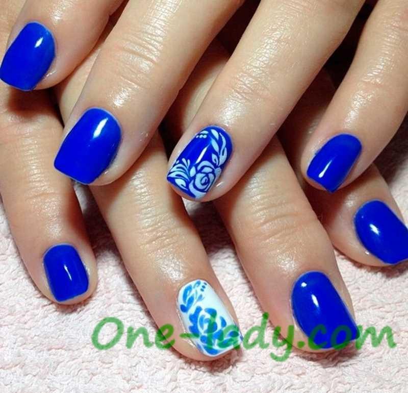 Маникюр ногти синего цвета фото