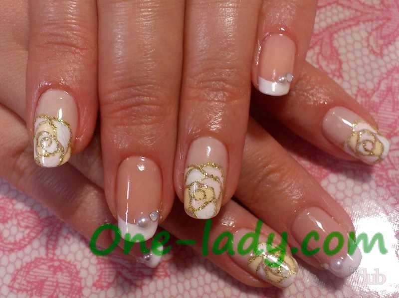 Белые розы на ногтях фото