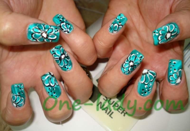 Рисунок на ногтях акриловыми красками фото