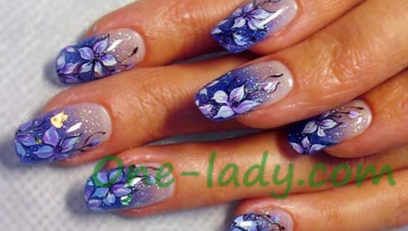 Цветы на ногтях акриловыми красками фото