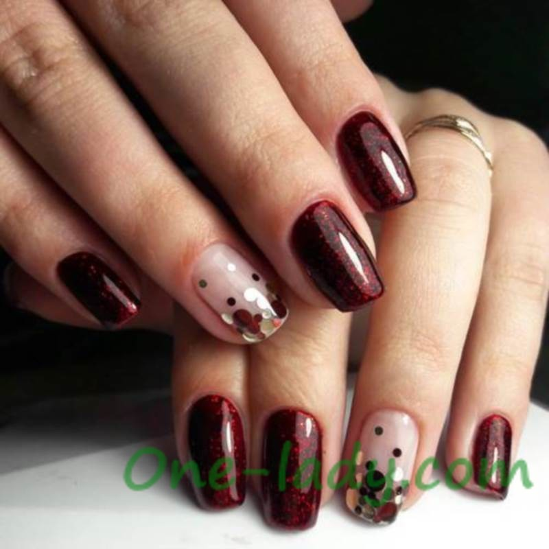 Бордовый дизайн ногтей фото