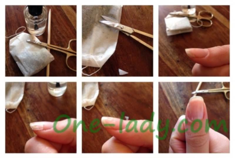 Как починить сломанный ноготь чайным пакетиком фото