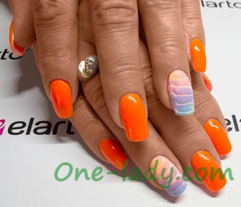 Оранжевый маникюр дизайн фото