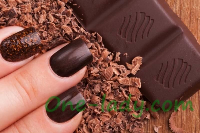 Шоколадный маникюр дизайн фото